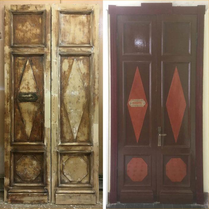 ремонт и реставрация деревянных входных дверей в СП-б