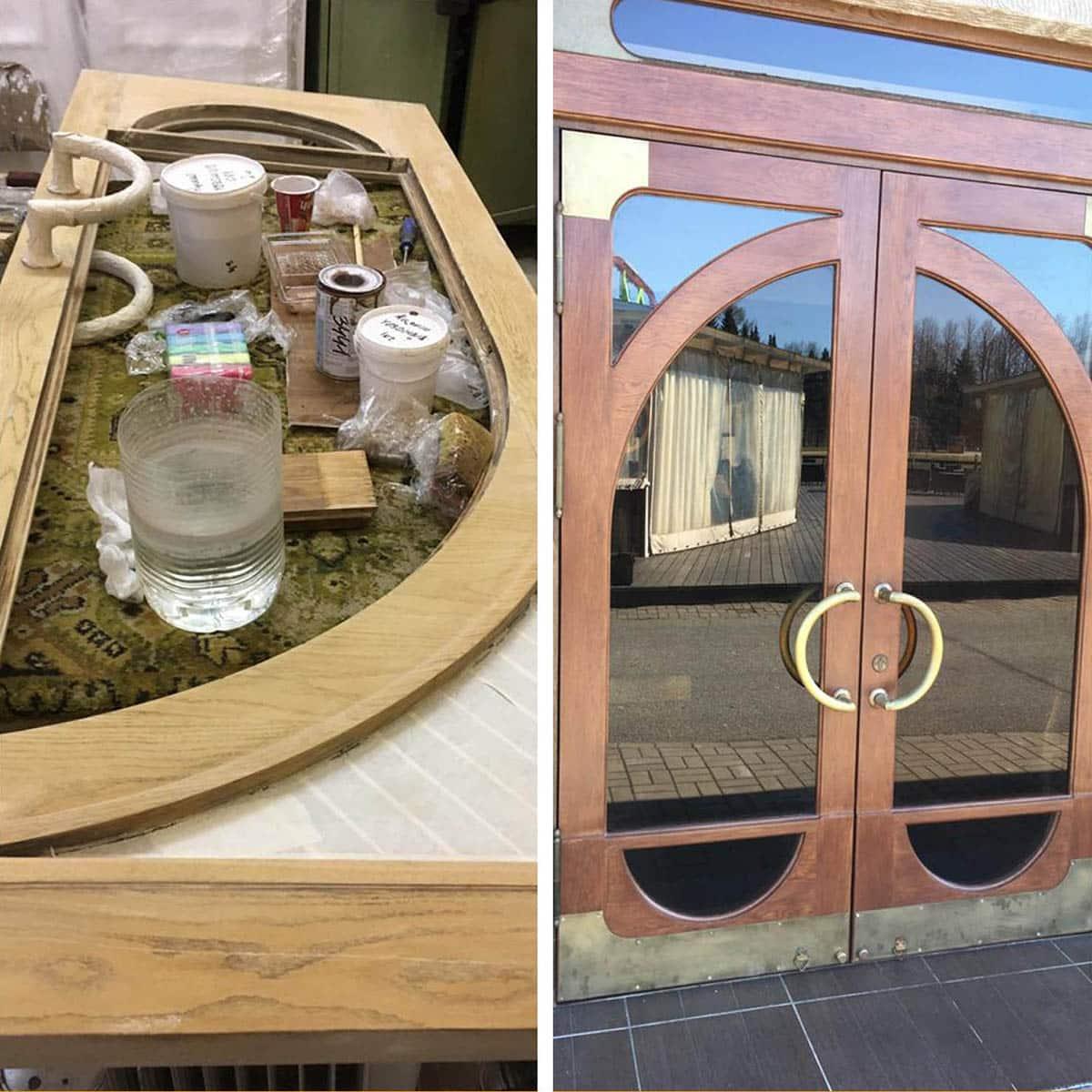 ремонт и реставрация входной двери (ресторан)