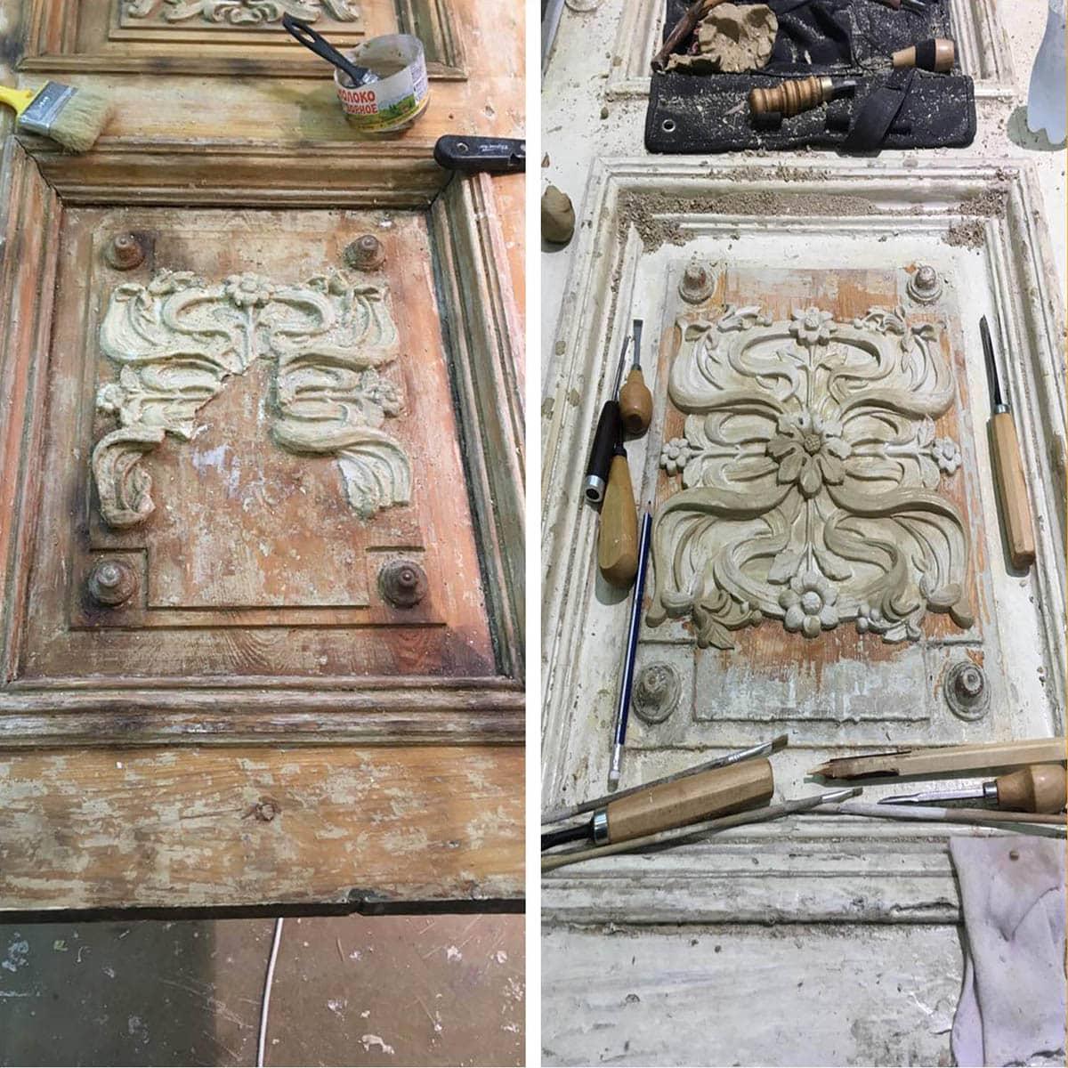 ремонт и реставрация двери с восстановлением декора (старый фонд)