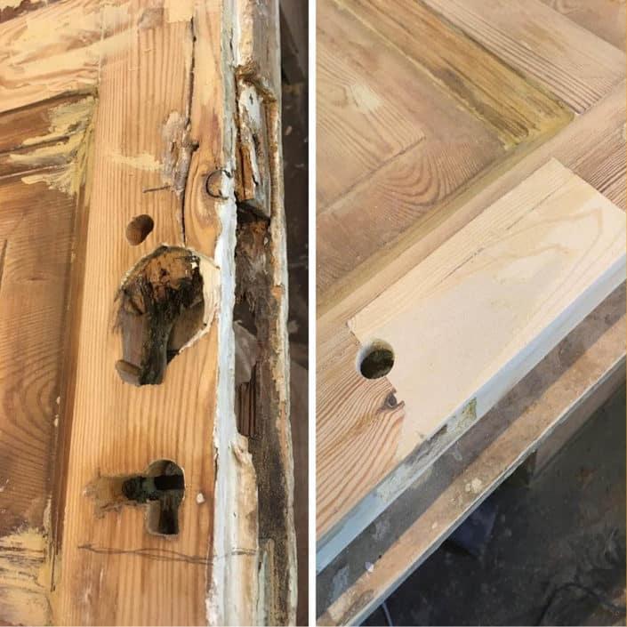 ремонт и восстановление обветшалых участков деревянных дверей