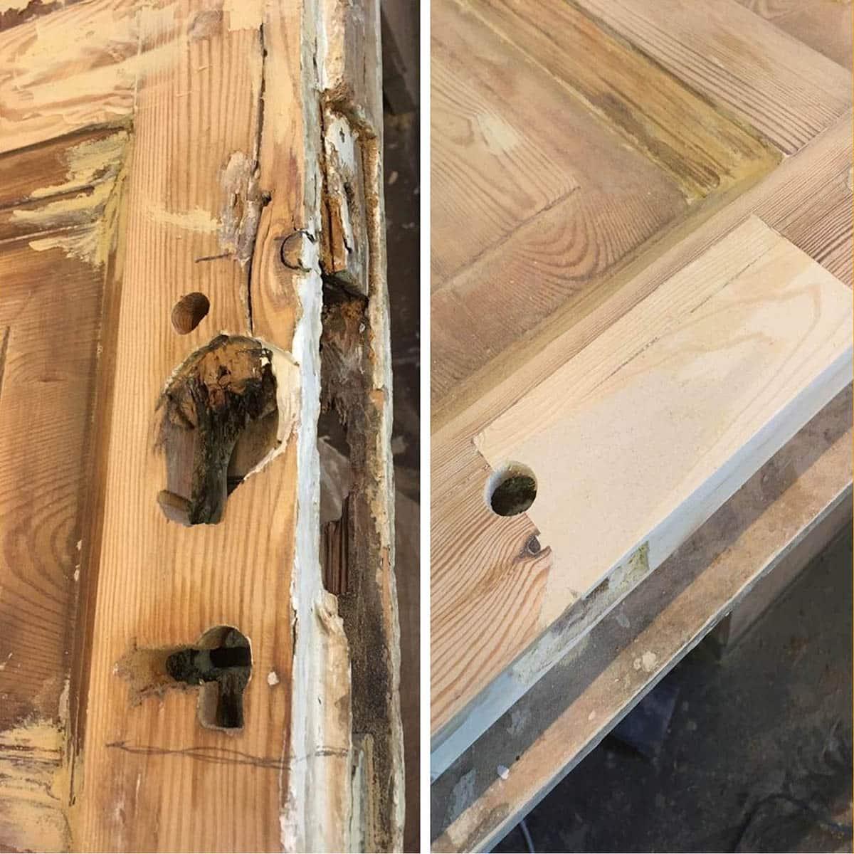 ремонт дверей (вставка в замковой зоне)