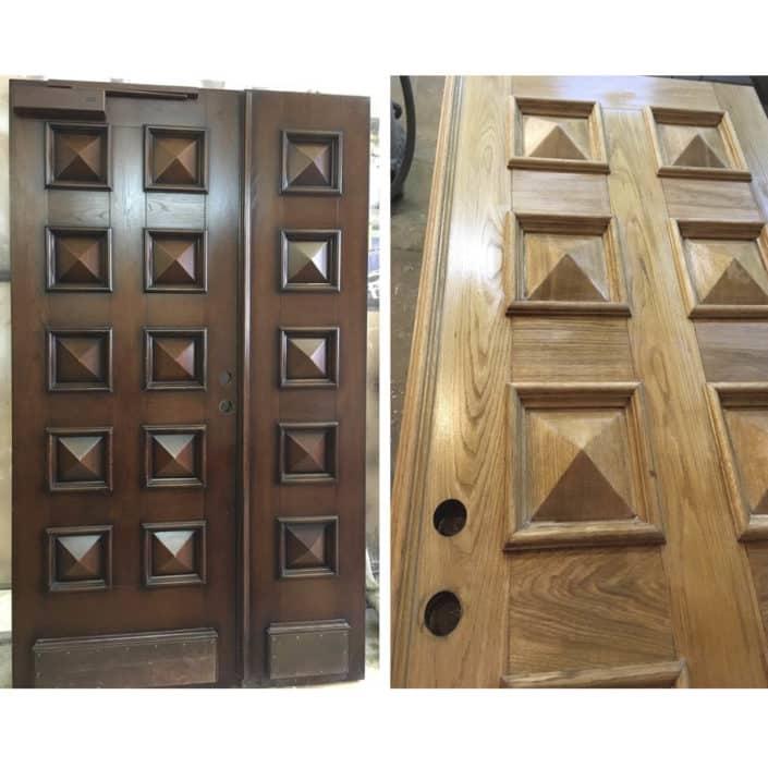 реставрация входных деревянных дверей