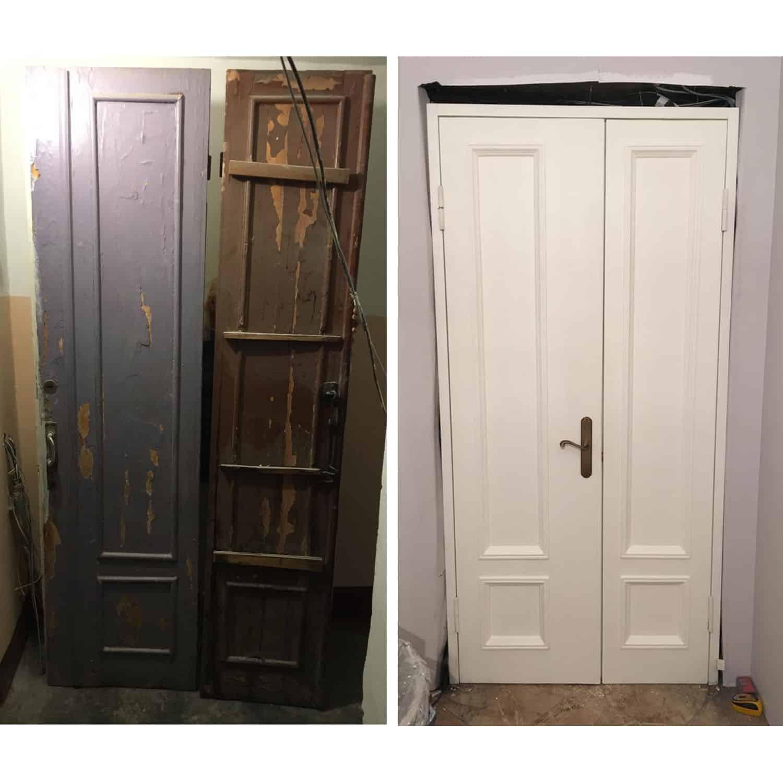 Ремонт дверей до и после